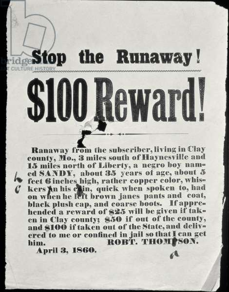 Reward Poster, April 3, 1860 (letterpress broadside)