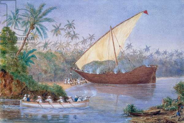Slave Dhow Run Aground, 1876-77 (w/c on paper) (see also 120386)