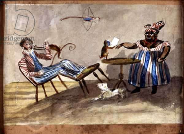 West Indian Domestic Scene, c.1835 (w/c and ink on paper)