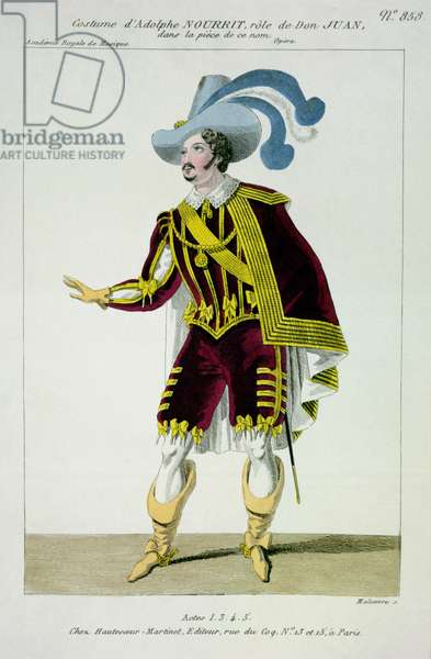 Costume for Adolphe Nourrit (1802-39) in the Role of Don Giovanni in the Opera of that Name, engraved by Maleuvre, printed by Hautecoeur-Martinet (coloured engraving)