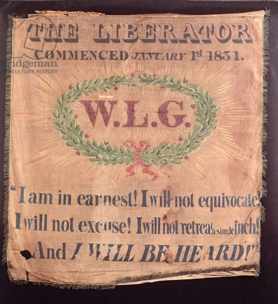 'The Liberator Commenced...' William Lloyd Garrison abolitionist banner, 1831 (oil on silk)