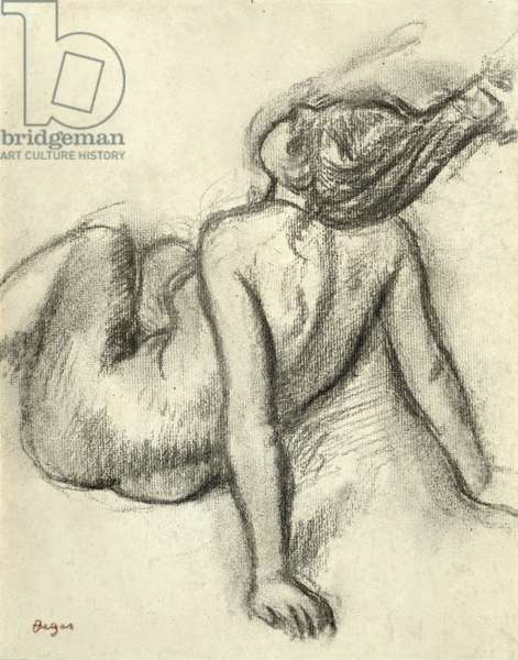 Woman having her hair styled (charcoal on paper)