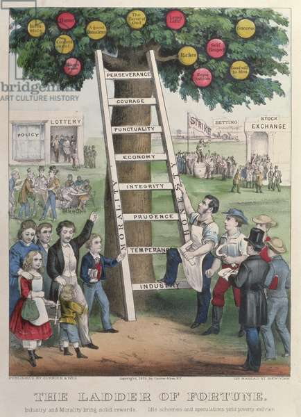 The Ladder of Fortune, pub. by Currier and Ives, New York, 1875 (colour litho)