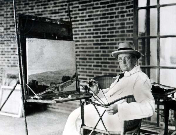 Winston Churchill Painting on a Canvas (b/w photo)