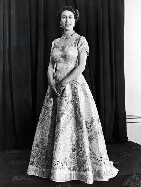 Official Coronation Portrait of Queen Elizabeth II, 1953 (b/w photo)