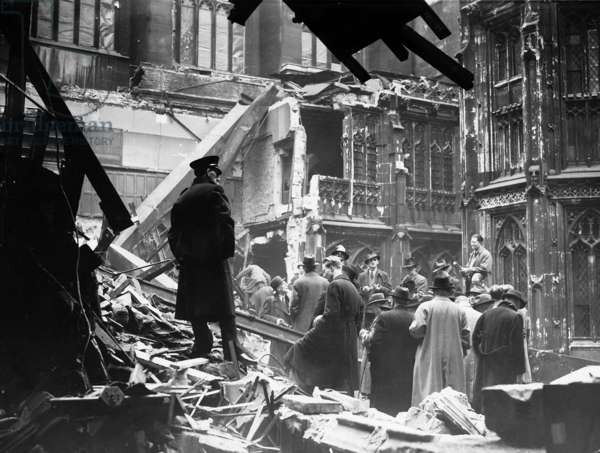 Damage to the House of Commons during the Blitz, December 1940 (b/w photo)