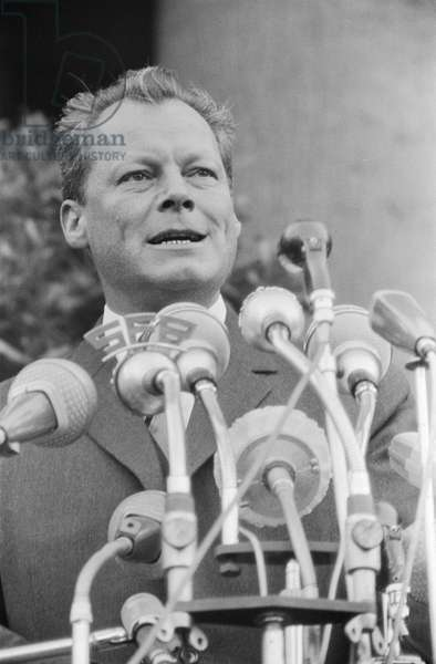 Willy Brandt at a West Berlin protest meeting about border closure, 17th August 1961 (b/w photo)