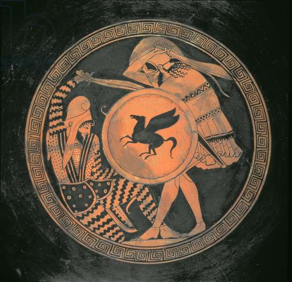 Red Figure Kylix, illustrating a battle scene between a hoplite, carrying a round shield with Pegasus motif and a bearded, reclining Persian, Attic, Greek, 460 BC (earthenware)