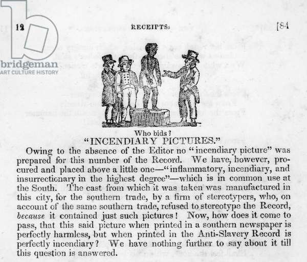 A depiction of a slave auction that ran in the Anti-Slavery Record, a New York monthly magazine published from 1835-38 (litho)