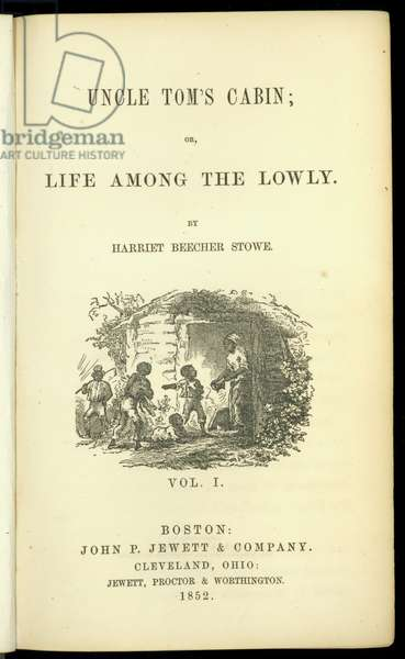 Title page from, 'Uncle Tom's Cabin; or, Life Among the Lowly, vol. I', by Harriet Beecher Stowe (1811-96), 1852 (litho)