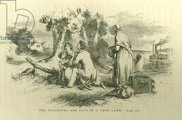 'The fugitives are safe in a free land', illustration from ' 'Uncle Tom's Cabin; or, Life Among the Lowly, vol. II', by Harriet Beecher Stowe (1811-96), 1852 (litho)