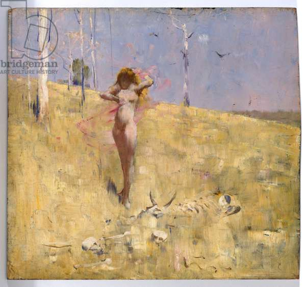 The spirit of the drought, c.1895 (oil on wood panel)
