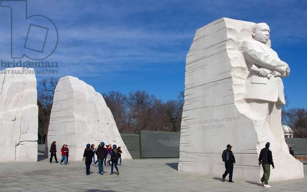 Tourists visit the 30-foot statue of Dr Martin Luther King, Jr (photo)