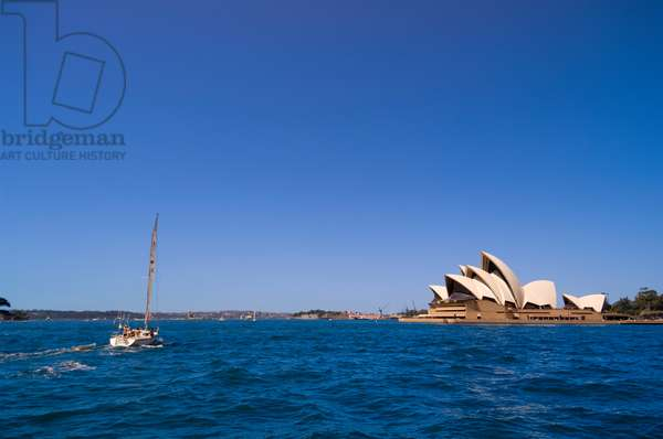 The Sydney Opera House and a passing sailboat (photo)