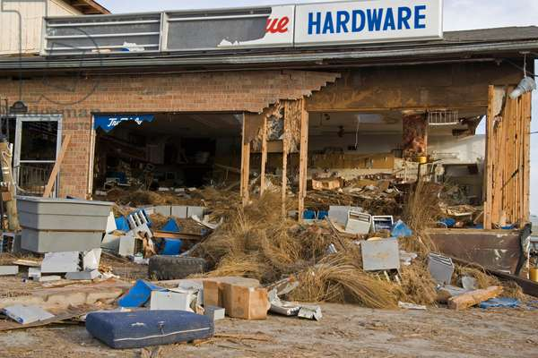 Exterior of a hardware store destroyed by Hurricane Katrina (photo)