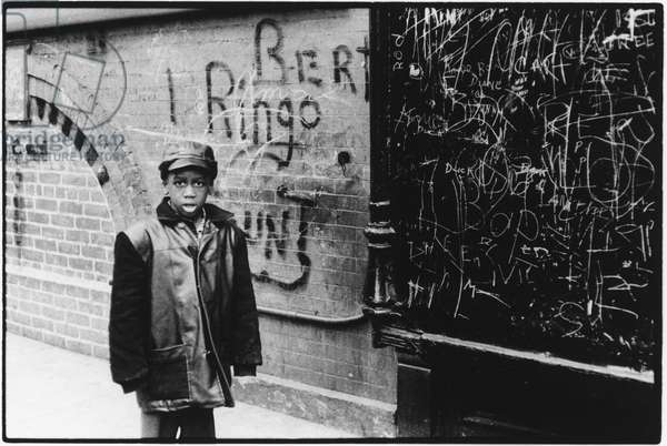Boy in Harlem, New York, 1960 (b/w photo)