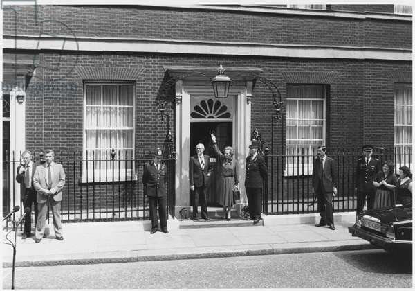 Margaret Thatcher returns to Downing Street after winning the general election, 1983 (b/w photo)