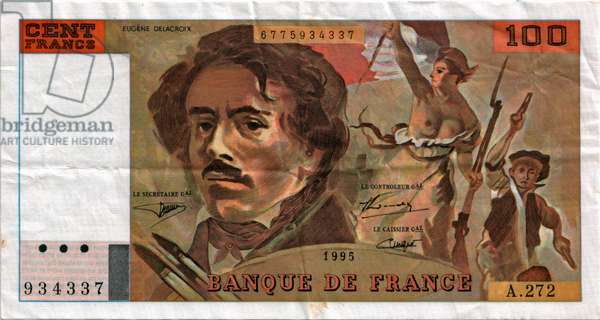 French banknote with portrait of French painter Eugène Delacroix