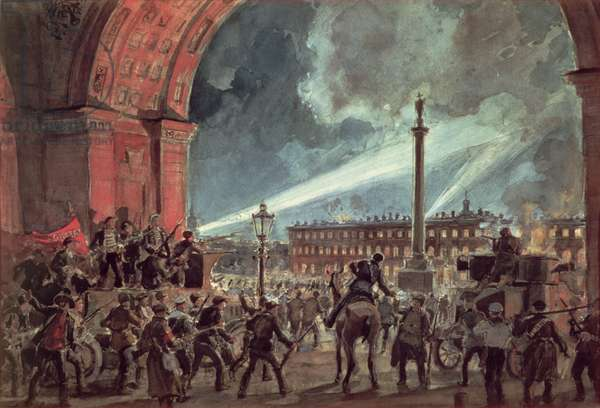 The Assault on the Winter Palace, 7th November 1917 (w/c on paper)
