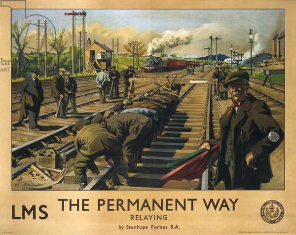 'The Permanent Way: Relaying', poster for the LMS, 1924 (colour litho)