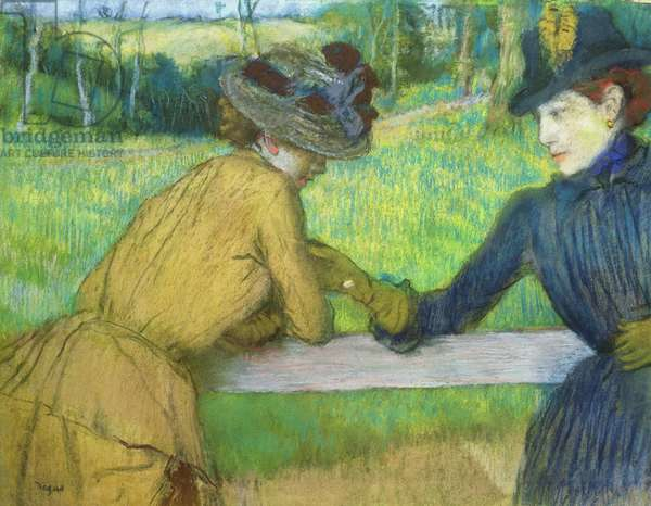 Two women leaning on a gate (pastel)