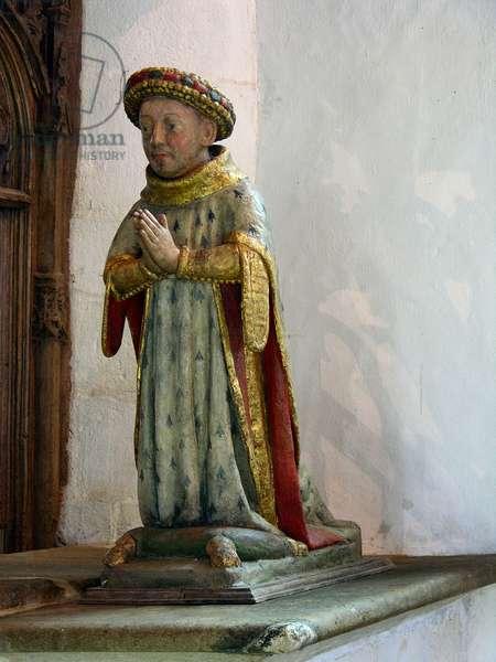 Statue of Jean V, Duc de Bretagne (polychrome wood)