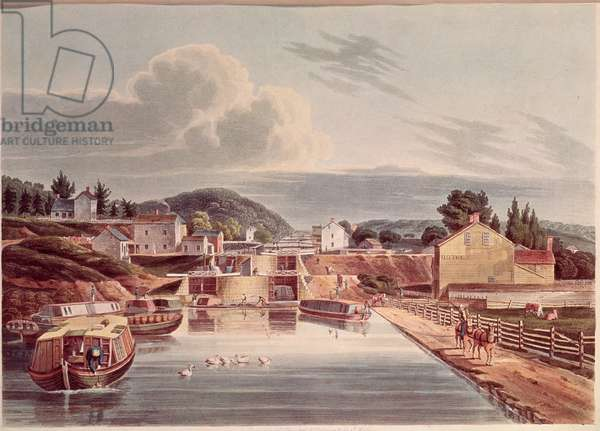 Junction of Erie and Northern Canal, engraved by J. Hill, c.1830-32 (colour litho)