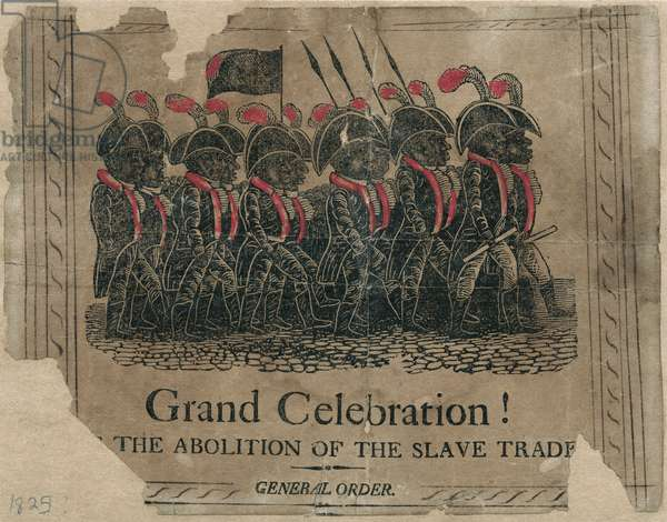 'Grand Celebration! The Abolition of the Slave Trade' poster published by the African Society of Boston, Massachusetts, 1817 (hand coloured woodblock print)