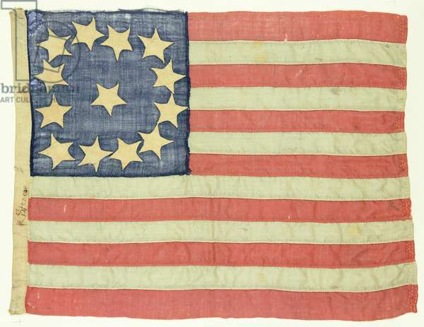 Handsewn Flag with Thirteen Stars, c.1830-80 (wool and cotton)