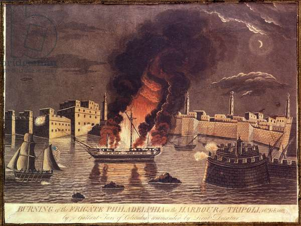 Burning of the Frigate 'Philadelphia', in the harbour of Tripoli on 16th February 1804 (colour litho)