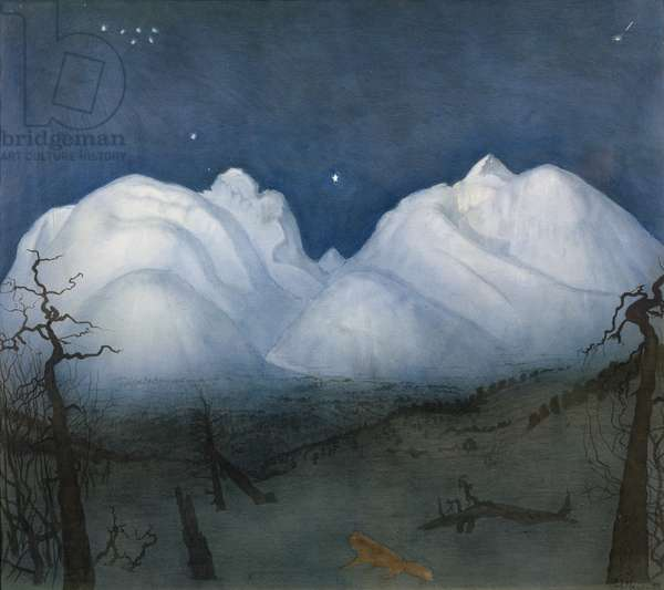 Winter night in the mountains (pastel & w/c on paper)