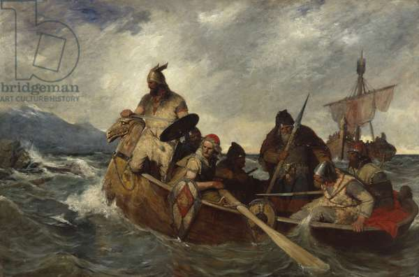 The Norwegians landing in Iceland in 872 (oil on canvas)