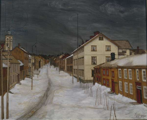 Mainstreet, Roros, 1904 (oil on canvas)