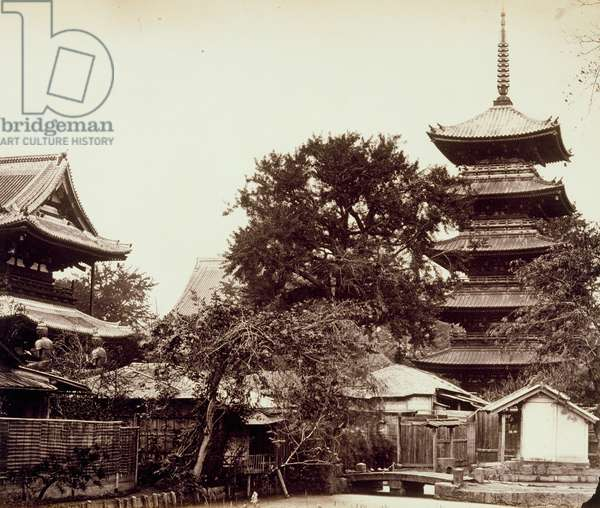 Senso-ji Temple, Asakusa, Edo, 1867 (b/w photo)