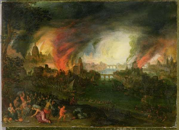 The Burning of Troy (oil on copper)