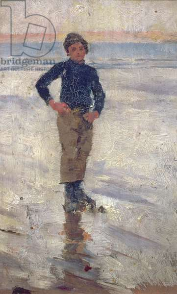 Boy on a Beach (oil on panel)