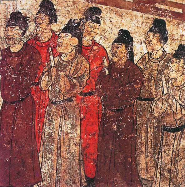 China: Qianling Tombs, Shaanxi; A group of court eunuchs. Tang Dynasty mural from the tomb of Prince Zhanghuai, 706