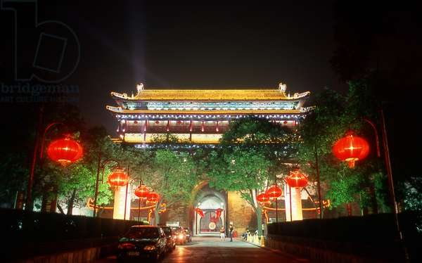 China: Xian's South Gate (Nan Men), part of the ancient city walls, by night, Xi'an, Shaanxi Province
