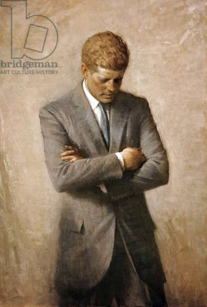USA: John Fitzgerald 'Jack' Kennedy (1917 -1963) was the 35th President of the United States, serving from 1961 until his assassination in 1963. Posthumous portrait, oil on canvas, Aaron Shikler (1922 - 2015), 1970