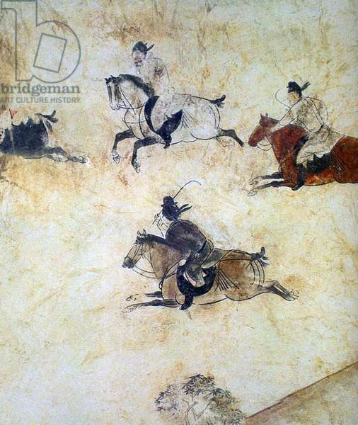 China: Qianling Tombs, Shaanxi; A game of Polo represented in a Tang Dynasty mural