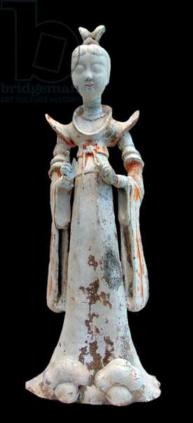 China: A terracotta sculpture of a woman in elaborate dress, 7th-8th century