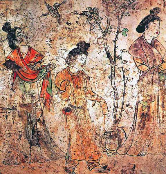China: Qianling Tombs, Shaanxi; Court ladies walking in the palace gardens while a bird flies by. Tang Dynasty mural from the tomb of Gaozong's 6th son, Li Xian