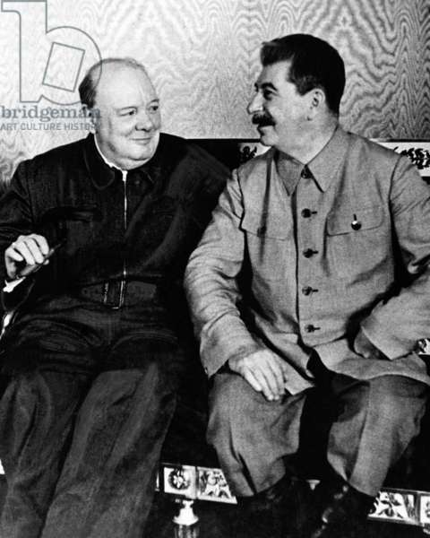 Russia / USSR: Sir Winston Churchill in conversation with Joseph Stalin, Moscow, 16 August 1942