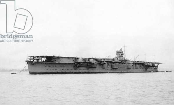 Japan: Imperial Japanese Navy aircraft carrier 'Hiryu' after its launch at the Kure naval shipyard, 6 April 1925
