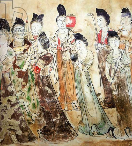China: Qianling Tombs, Shaanxi; Tang court ladies in a fresco painting at Lady Li Xianhui's tomb.