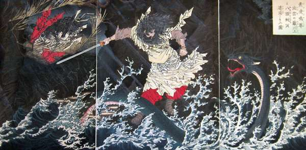 Japan: Susano no Mikoto killing the eight-headed serpent at Hirokawa. Tsukioka Yoshitoshi (1839-1892)