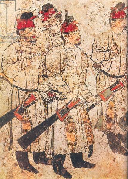 China: Qianling Tombs, Shaanxi; Male figures in a procession, from a wall fresco in Li Xian's tomb, dated 706 AD