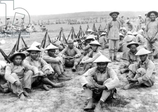 Vietnam: Annamese 'tiraillleurs' or Vietnamese colonial soldiers waiting to go into battle at Ypres, Belgium, in 1916.