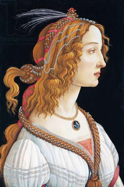 Italy: Portrait of Simonetta Vespucci as a Nymph, Sandro Botticelli (1445-1510), tempera on panel, Stadelsches Kunstinstitut, Frankfurt-am-Main, Germany, 1485