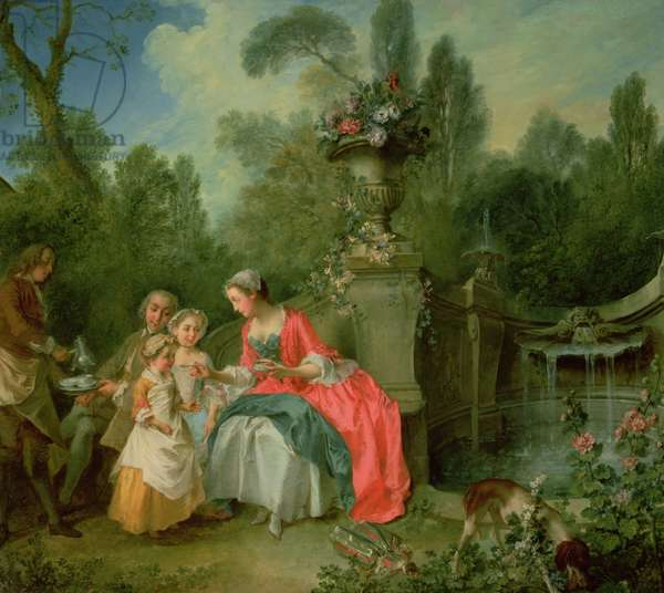 A lady and a gentleman in the Garden with two children c. 1742 (oil on canvas)